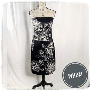 NWT WHBM Black Floral Satin Cocktail Dress sz 10